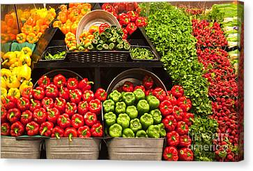 Grocery Store Produce Aisle Canvas Print by David Buffington