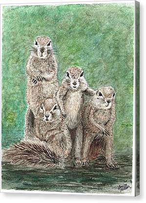 Groundhog Family Canvas Print by Louise Miller