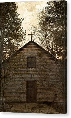 Grungy Hand Hewn Log Chapel Canvas Print by John Stephens
