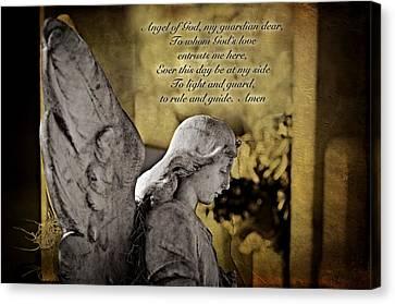 Guardian Angel Prayer Canvas Print by Bonnie Barry