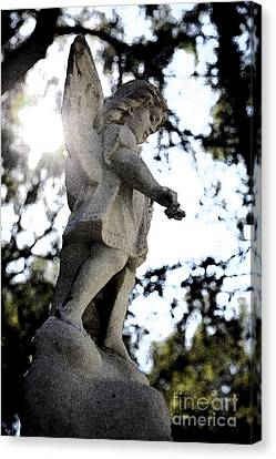 Guardian Angel With Light From Above Canvas Print by Nina Prommer