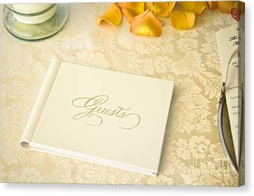 Guestbook On A Table Canvas Print by Ned Frisk