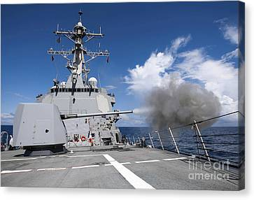 Guided-missile Destroyer Uss Pinckney Canvas Print by Stocktrek Images