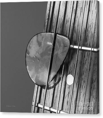 Guitar Frets And Pick Canvas Print by Gordon Wood