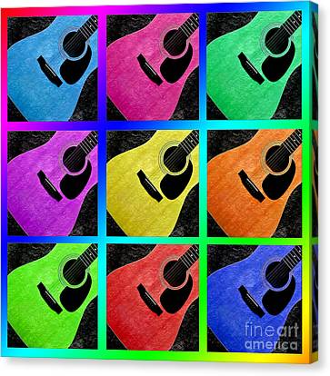 Guitar Tic Tac Toe Rainbow Canvas Print by Andee Design