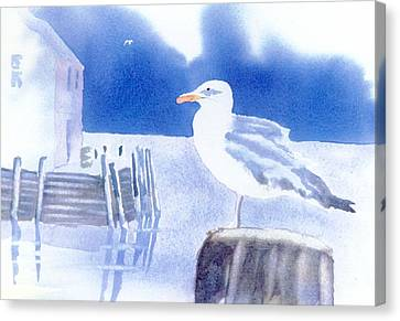 Gull Watch Canvas Print by Joseph Gallant
