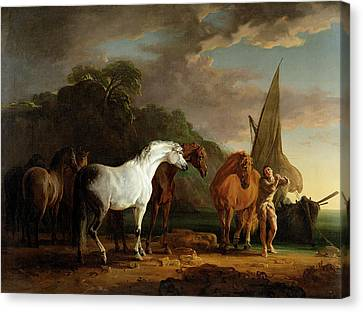 Gulliver Taking His Final Leave Of The Land Of The Houyhnhnms Canvas Print by Sawrey Gilpin