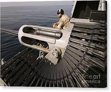 Gunner Manning A Mk-38 25mm Heavy Canvas Print by Stocktrek Images