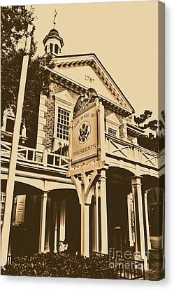 Hall Of Presidents Exterior Walt Disney World Prints Rustic Canvas Print by Shawn O'Brien