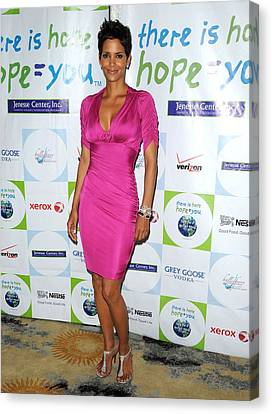 Halle Berry Wearing A Dress By Roberto Canvas Print by Everett
