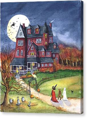 Halloween Haunted Mansion Canvas Print by Iva Wilcox