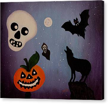 Halloween Night Original Acrylic Painting Placemat Canvas Print by Georgeta  Blanaru