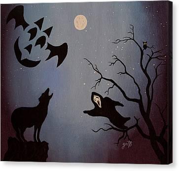 Halloween Night Party Original Painting Placemat Doormat Canvas Print by Georgeta  Blanaru