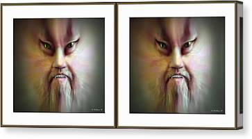 Halloween Self Portrait - Gently Cross Your Eyes And Focus On The Middle Image Canvas Print by Brian Wallace