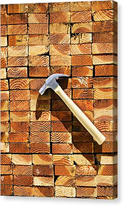 Hammer And Stack Of Lumber Canvas Print by Garry Gay
