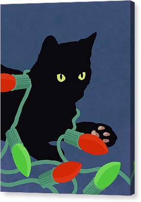 Hand Painted Cat And Christmas Lights Illustration Canvas Print by Don Bishop