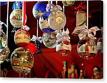 Handcrafted Mouth Blown Christmas Glass Balls Canvas Print by Christine Till