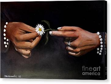 Hands And Daisy Canvas Print by Kostas Koutsoukanidis