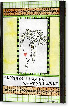 Happiness Canvas Print by Christy Woodland