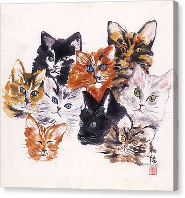 Happy Cats Canvas Print by Hilda Vandergriff