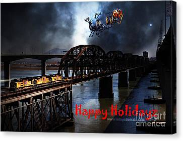 Happy Holidays - Once Upon A Time In The Story Book Town Of Benicia California - 5d18849 Canvas Print by Wingsdomain Art and Photography