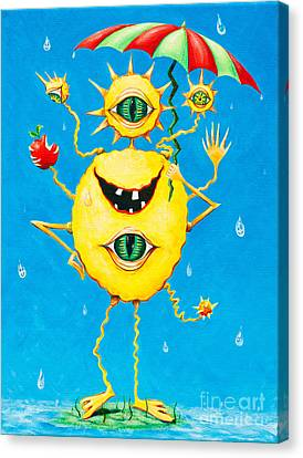 Happy Monster In The Rain Canvas Print by Melle Varoy