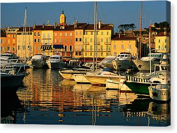 Harbour Boats And Waterfront Houses, St Tropez, Provence-alpes-cote D'azur, France, Europe Canvas Print by David Tomlinson