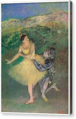 Harlequin And Colombine Canvas Print by Edgar Degas