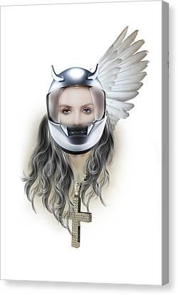 Harley Davidson Woman Canvas Print by Mark Ashkenazi