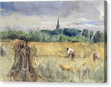 Harvest Field At Stratford Upon Avon Canvas Print by John William Inchbold