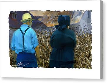 Harvesting The Corn Canvas Print by Bob Salo