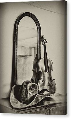 Hat And Fiddle Canvas Print by Bill Cannon