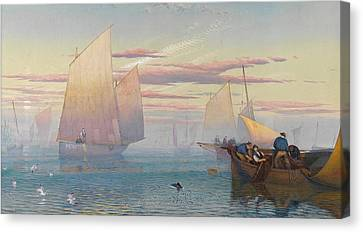 Hauling In The Nets Canvas Print by JB Pyne