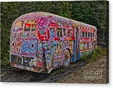 Haunted Graffiti Bus II Canvas Print by Susan Candelario