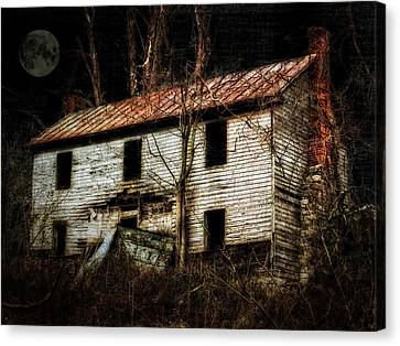 Haunted House On The Hill Canvas Print by Kathy Jennings