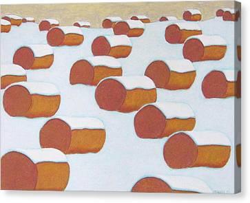 Hay Balesin Winter Canvas Print by John  Turner