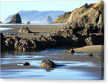 Haystack Rock From Arcadia Beach Canvas Print by Steven A Bash