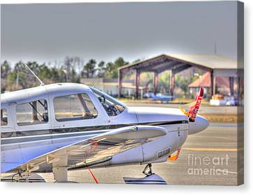 Hdr Airplane Looks Plane From Afar Under Canopy Canvas Print by Pictures HDR