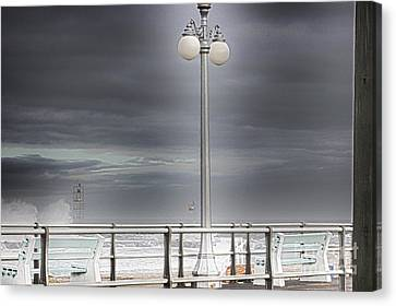 Hdr Lamp Post Beach Beaches Boardwalk Ocean Sea Effect Photos Pictures Photo Picture Photography New Canvas Print by Pictures HDR