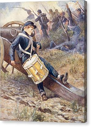 He Crawled Behind A Cannon And Pale And Paler Grew Canvas Print by William Henry Charles Groome