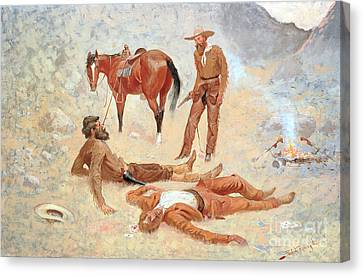 He Lay Where He Had Been Jerked Still As A Log  Canvas Print by Frederic Remington