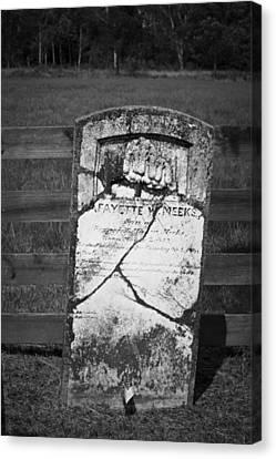 Headstone Of Lafayette Meeks Canvas Print by Teresa Mucha