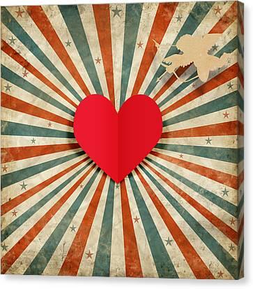 Heart And Cupid With Ray Background Canvas Print by Setsiri Silapasuwanchai