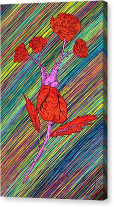 Heart Made Of Roses Canvas Print by Pierre Louis