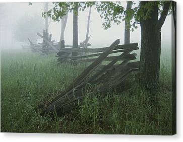 Heavy Fog Hangs Over Split Rail Fences Canvas Print by Stephen St. John
