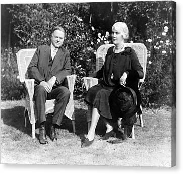 Herbert Hoover Seated With His Wife Canvas Print by International  Images