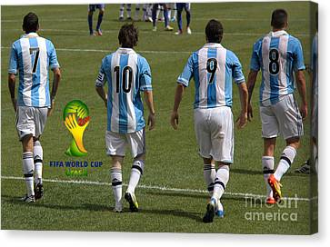 Here We Come Lionel Messi Fifa 2014 Canvas Print by Lee Dos Santos