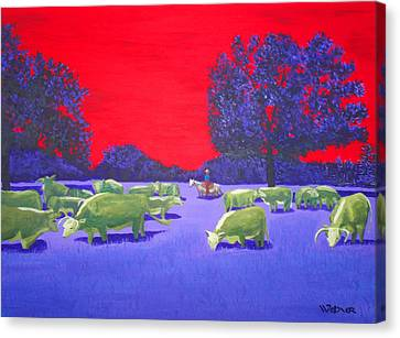 Hereford Herd Canvas Print by Randall Weidner