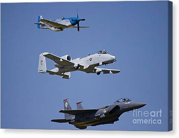 Heritage Flight Wings Over Whitman Canvas Print by Linda Gardner-Goos