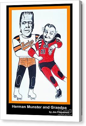 Herman And Grandpa Munster Playing Roller Derby Canvas Print by Jim Fitzpatrick